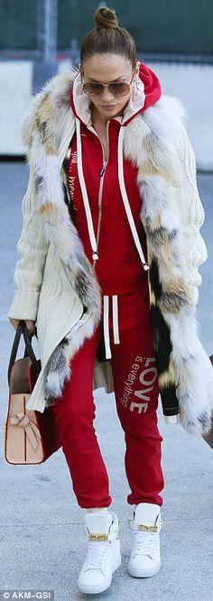 Jennifer Lopez jets in with Casper Smart but leaves airport separately Jennifer Lopez Albums, Jennifer Lopez Images, Red Tracksuit, Streetwear Fashion, Winter Coat, Street Style Women, Fashion Boutique, My Idol, Winter Outfits