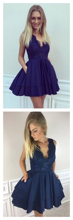 A Line V-neck Lace Short Mini Homecoming Dresses,Cute Homecoming Dress,Short