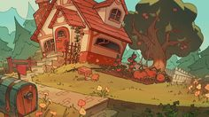 a little cottage by genicecream on DeviantArt Background Drawing, Cartoon Background, Animation Background, Drawing Cartoon Faces, Anime City, Frame By Frame Animation, Character Design Animation, Character Sketches, Character Illustration