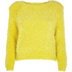 River Island Yellow fluffy knit cropped jumper ($19) ❤ liked on Polyvore featuring tops, sweaters, jumpers, shirts, sale, yellow, yellow top, crew neck sweaters, crewneck sweater and cropped crew neck sweater