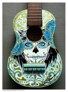 Handpainted Ukelele Day of the dead SOLD by Hollow-Moon-Art on DeviantArt Ukulele Art, Guitar Art, Cool Guitar, Guitar Pics, Ukulele Chords, Painted Ukulele, Ukulele Design, Guitar Painting, Guitar Drawing