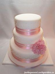 svatební dort s pivoňkou, váha 10kg
