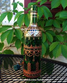 Henna Mehndi Painted Wine Bottle Accent Light by Behennaed on Etsy