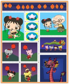 Ni Hao, Kai-lan Lantern Party Stickers Kai Lan, Nick Jr, Ny Ny, Goodie Bags, Lanterns, Goodies, Birthday Parties, Printables, China
