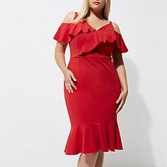 be9219f1ba9 Plus red frill cold shoulder bodycon dress Robe Moulante