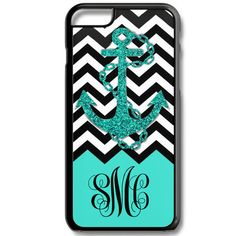 Aqua Chevron Anchor Monogram Iphone 6/6s Case Plus 5c 5/5s 4/4s Personalized Custom Cover Zig Zag