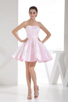 Pink Short/ Mini Satin Ruffles Soft Sweetheart A-line Bridesmaid Dress Wholesale Price: US$127.99