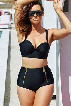 Black Plus sizeHigh Waist Bikini LAVELIQ   Material: Polyamid+Elasthan   Size: (Us 16-18)Xxl,(Us 20-22)Xxxl,(Us 24-26)Xxxxl,(Us 28-30)Xxxxxl   Color: Black      Style: Brief, Cute   Occasion: Summer, Beach   Pattern: Solid   Decoration: Zip, Shoulder Strap   Package Contents: 1 X Top, 1 X Bottom      Item Type: Swimwear   Pad: With Padded   Support: Steel Support