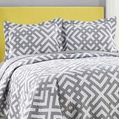 This Adrienne Vittadini quilt set is great to layer into your bedding as a coverlet or use alone in warmer weather. This quilt set is reversible and an easy way to update your room. Bed Sets, Grey And White Bedding, Beds For Sale, Down South, Bedding Shop, Quilt Sets, Mellow Yellow, Boutique, Bed Spreads