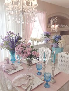 Romantic Shabby chic Home - turquoise details-purple flowers