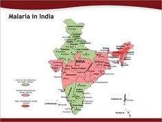 PPT Map showing areas prone to Malaria in India