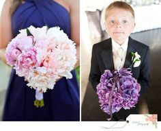 Bridesmaid's Bouquet of Pink Peonies ~ Purple Hydrangea Purse for the Flower Girl!