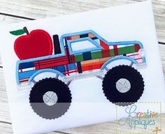 Apple Truck Applique - 4 Sizes! | What's New | Machine Embroidery Designs | SWAKembroidery.com Creative Appliques