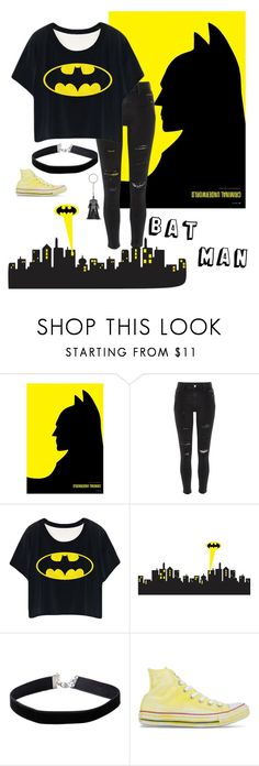 """BatMan"" by lgmay ❤ liked on Polyvore featuring River Island, Miss Selfridge and Converse"