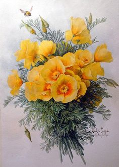"""California Poppies"" - Watercolor By Paul de Longpre   c.1903"
