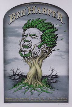 2006 Ben Harper Sasquatch Gray Silkscreen Concert Poster by Emek Rock Posters, Band Posters, Concert Posters, Festival Posters, Movie Posters, Rock & Pop, Vintage Music Posters, Sale Poster, Gig Poster