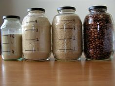 having the jars labeled with measurements gives you an idea of how much ingredient is left in the jar