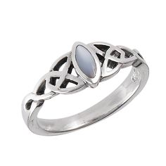 Pearl Thin Celtic Sterling Silver Ring Sizes: 3, 4, 5, 6, 7, 8, 9