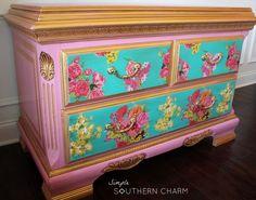 pink floral dresser, decoupage, painted furniture