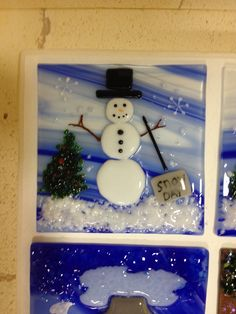 Fused glass snowman night light.