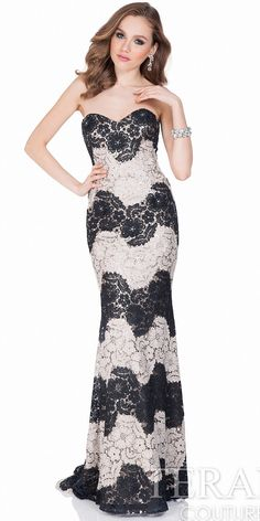 Two Tone Lace Strapless Evening Gown by Terani Couture #edressme