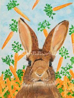 Canvas print of original painting Animal painting Bunny