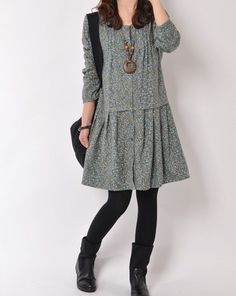 Blue 2014 spring clothes cotton dress long by originalstyleshop, $54.50. Really cute with jeans I bet. Love the material.
