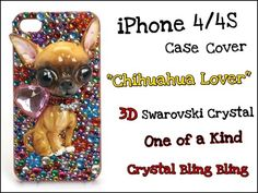 Chihuahua Lover iPhone 4 case Swarovski Crystal Handmade Accessories Pet Gifts