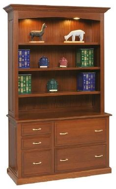 Amish Mt Eaton Credenza with Bookcase Top Elegant and hardworking, this is a credenza that's handcrafted. You can customize in choice of wood, stain and hardware. Get ready for a great day at the office with the perfect furniture to help organize. #credenza #officestorage
