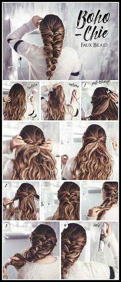 Hair tutorial: Bohemian Chic Faux Braid #SimpleBraidedHairstyles ... | Frisuren Tutorials