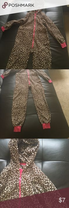 Girls leopard print onesie pajamas Girls leopard print onesie pajamas with ears on top of hood; pink zipper in front; pink elastic around wrists and ankles; tag was cut out due to itching; size: 10/12 Children's Place Pajamas