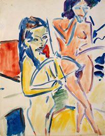 Franzi con arco e nudo (Ernst Ludwig Kirchner, 1910)