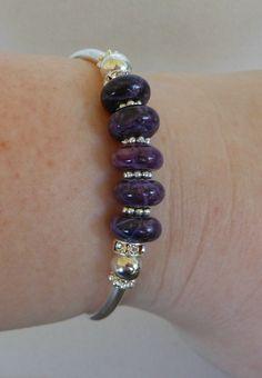 Turquoise Dyed  Purple Bangle Bracelet by beadedblisscreations, $18.00