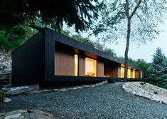 Hungary-based architecture office Béres Architects have completed in 2013 the Hideg House, a holiday home for a couple. Architecture Office, Residential Architecture, Contemporary Architecture, Architecture Design, Dezeen Architecture, Contemporary Homes, Modern Art, Green Design, Haus Am Hang