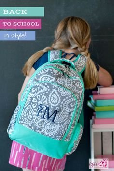Price Includes Personalized Embroidery - Monogram or Name Camo, Paisley, Mia Moroccan, Shark, Striped, Boho, Floral, Pineapple, Garden Cute and trendy girls kids & teen backpack, perfect for back to s