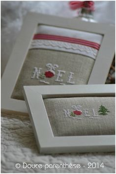 Noel rouge et blanc 3 ~Inspiration ~~ like the pillow look of needlework framed here...