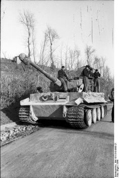 German Army Tiger I heavy tank on a road in Italy, 1944.