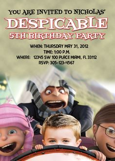 Despicable Me Invitations Custom Designed with your Kid on a Roller Coaster and Party Information. $9.99, via Etsy.