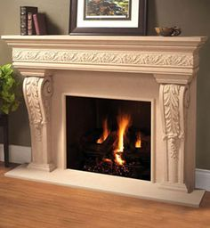 1110.Leaf.534 fireplace stone mantel