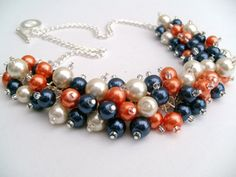 Pearl Beaded Necklace Navy Blue Orange and Ivory by KIMMSMITH, $24.00