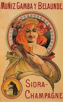 Anuncio de 1899 - 1900 de la sidra champagne EL OSO, de Avilés, fabricada por Muñiz, Gamba y Belaunde