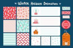 Winter holidays decorations set