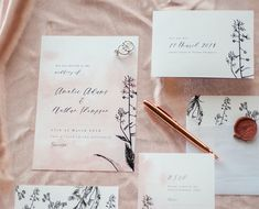 Blush and Floral wedding stationery suite Floral Wedding Stationery, Stationery Design, Wedding Invitations, Signage, Blush, Place Card Holders, Masquerade Wedding Invitations, Blusher Brush, Wedding Invitation Cards