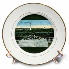3dRose Tomb of the Unknown Soldier, Arlington Virginia Postcard Reproduction, Porcelain Plate, 8-inch