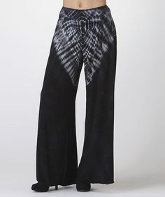 Look at this #zulilyfind! Black & White Tie-Dye Palazzo Pants by CottyOn #zulilyfinds