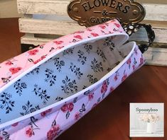 Pretty Pink flowers with black accents print long zippered case with handle for toiletries or pencils pens Black Accents, Pretty In Pink, Pink Flowers, Pens, Cotton Fabric, Coin Purse, Handle, Zipper, Coin Purses