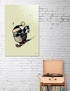 Discover «Hedgehog skier», Numbered Edition Aluminum Print by Igor Karpov - From $59 - Curioos
