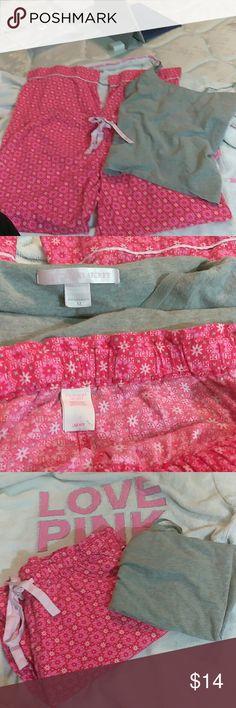 Pink VICTORIA SECRET P.J Top grey tank size medium P.J. bottom size small PINK Victoria's Secret Intimates & Sleepwear Pajamas