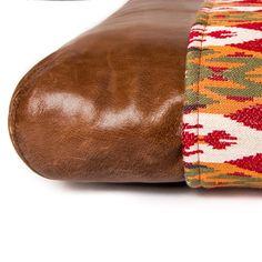 """Schönes Hundekissen """"Louisiana Kilim Spice"""" kombiniert aus Leder und schönem, robusten Kelim Stoff"""