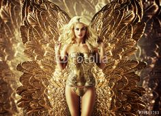 Blond tempting woman with the golden wings Golden Wings, Girl Wallpaper, Gold Fashion, Blond, Istanbul, Photo Editing, Strapless Dress, Wonder Woman, Stock Photos